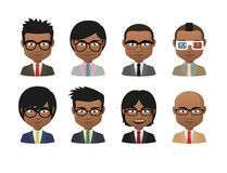 Young indian men wearing suit and glasses avatar set Stock Photography