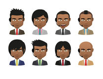 Young indian men wearing suit and a headset avatar set Royalty Free Stock Photos