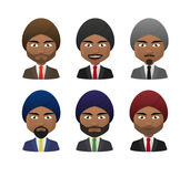 Young indian men wearing suit and turban avatar set Stock Photos