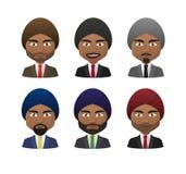 Young indian men wearing suit and turban avatar set Stock Photos