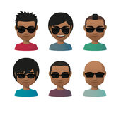 Young indian men wearing sun glasses avatar set Stock Photography