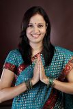 Young Indian traditional woman greeting Stock Photos