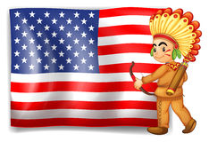 A young Indian and the USA flag Stock Images