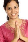 Young Indian woman greeting NAMASTE Stock Photos