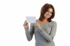 Young Indian woman holding a placard Stock Photos