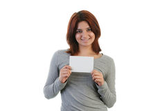 young Indian woman holding a placard Royalty Free Stock Photography