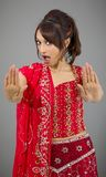 Young Indian woman making stop gesture sign from both hands Stock Photography