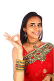 Young Indian woman with Ok gesture. Royalty Free Stock Photography