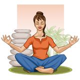 Young Indian woman practicing yoga meditation, with stones and greenery stock illustration