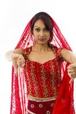 Young Indian woman showing thumbs down sign from both hands Royalty Free Stock Photography
