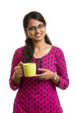 young Indian woman with tea cup Royalty Free Stock Photography