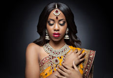 Young Indian woman in traditional clothing with bridal makeup and jewelry. Young Indian woman dressed in traditional clothing with bridal makeup and jewelry stock images