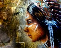 Young indian woman wearing a big feather headdress, on wall bac Stock Photography