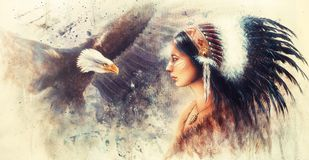 Young indian woman wearing a gorgeous feather headdress, with a. Beautiful airbrush painting of a young indian woman wearing a gorgeous feather headdress, with Royalty Free Stock Photography
