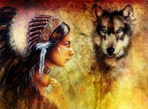 Young indian woman wearing  with  wolf and feather headdress, painting  collage. Royalty Free Stock Image