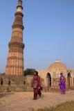 Young indian women walking near Alai gate, Qutub Minar, Delhi, I Royalty Free Stock Photography