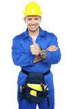 Young industrial contractor showing thumbs up Stock Photo
