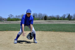 Young infield baseball player Royalty Free Stock Photo