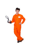 Young inmate with chains Royalty Free Stock Images