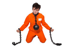 Young inmate with chains Royalty Free Stock Photos