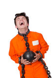 Young inmate with chains Stock Image