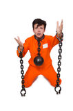 Young inmate with chains Royalty Free Stock Photography