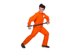 Young inmate with chains Stock Photo