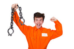 Young inmate with chains Stock Images