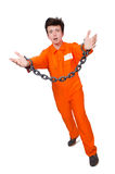 Young inmate with chains isolated Stock Photos