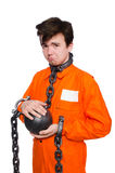 Young inmate with chains isolated Royalty Free Stock Photo