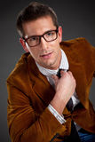 Young interesting businessman with rimmed glasses Stock Images