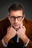 Young interesting businessman with rimmed glasses Royalty Free Stock Images