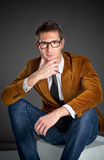 Young interesting businessman with rimmed glasses Royalty Free Stock Photography
