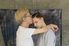 Young international homosexuals gay couple love each other stock photos