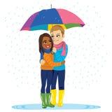 Raining Romantic Couple Stock Photos