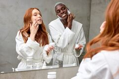 Free Young Interracial Multi-ethnic Diverse Man And Woman Spend Morning Routine In Bathroom Together Royalty Free Stock Images - 214240659