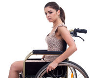 Young invalid woman on the wheelchair Stock Photos