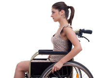 Young invalid woman on the wheelchair Royalty Free Stock Photo