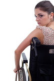 Young invalid woman on the wheelchair Royalty Free Stock Images