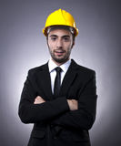 Young investor with construction helmet Stock Photo