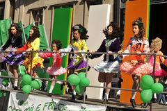 Young Irish dancers in St Patrick's Day Parade Royalty Free Stock Images