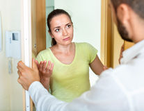Young irritated couple  quarreling Royalty Free Stock Images