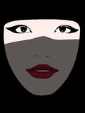 Young islamic woman. Covered with a black veil: vector royalty free illustration