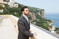 Young Italian groom before marriage in Sorrento peninsula. Young Italian groom with beard, brown hair and green eyes before marriage in Sorrento peninsula royalty free stock photo