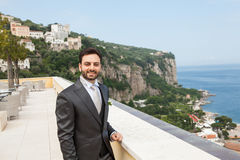 Young Italian groom before marriage in Sorrento peninsula. Stock Photos
