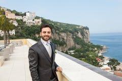 Young Italian groom before marriage in Sorrento peninsula. Young Italian groom with beard, brown hair and green eyes before marriage in Sorrento peninsula Stock Photos