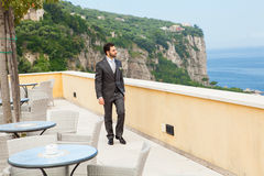 Young Italian groom before marriage in Sorrento peninsula. Young Italian groom with beard, brown hair and green eyes before marriage in Sorrento peninsula Royalty Free Stock Image