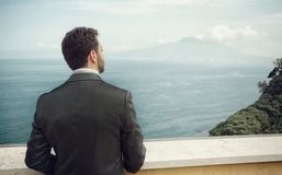Young Italian groom before marriage in Sorrento peninsula. Young Italian groom with beard, brown hair and green eyes before marriage in Sorrento peninsula stock images