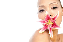 Young italian woman with flower Stock Image