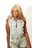 Young Jamaican girl safari overall 90. An blond young Jamaican girl in an safari overall Royalty Free Stock Image